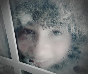 Anna looking in the frosty window