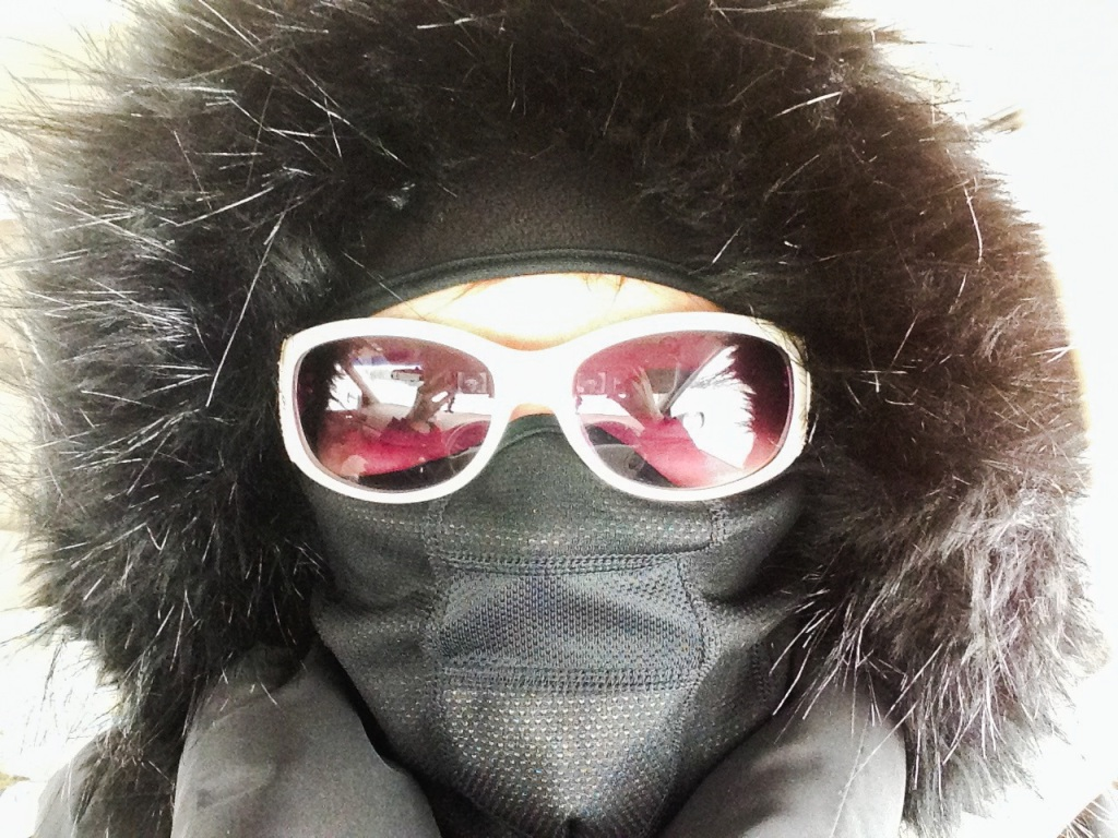 Covered head to toe to protect from the -7 degree wind-chill.