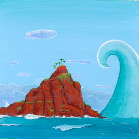 """Image of Angel Ambrose's """"I Know it is Not Safe Here, But I Know it is Good"""" artwork. It is a pristine island, in a clear blue ocean with a tsunami about to overtake it."""