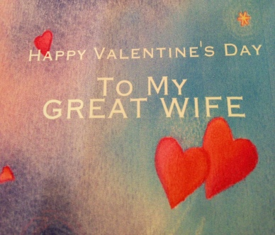 Picture of card that Tony gave to me for Valentine's Day
