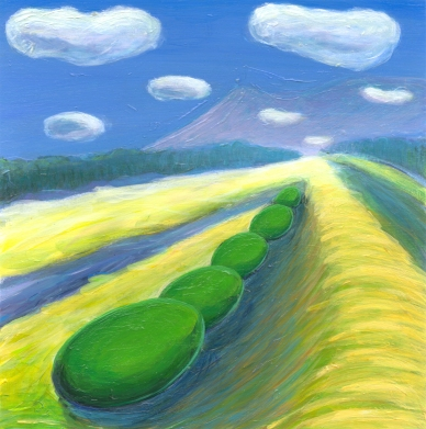 Painted image of a yellow field with watermelon-type bushes marching back into perspective.