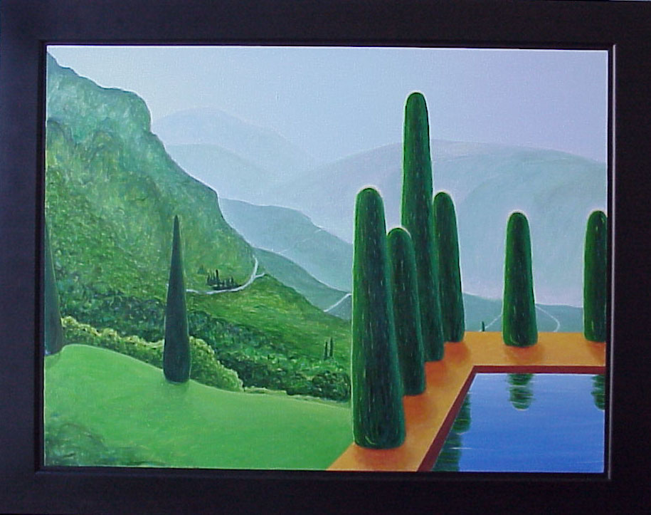 Painting by Angel Ambrose of a vista landscape with a tranquil pool in the foreground.