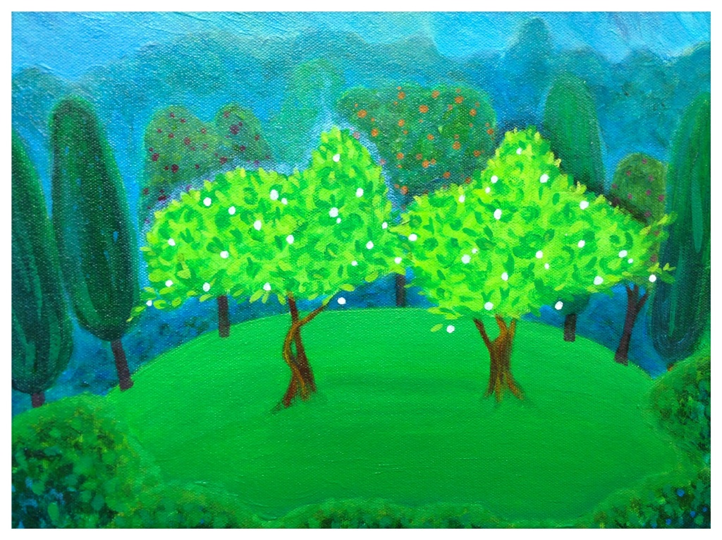 Painting of two trees in the Garden of Eden.