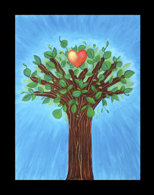 Painting of a tree using two hands reaching up, as the trunk and branches with a heart in the middle of the leaves.