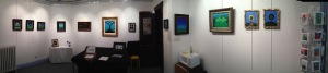 Image of my studio with artwork for my show called Sacred Trees.