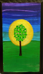 Idyllically painted tree with fruit and a gold halo around it representing the Tree of Life from the Garden of Eden.