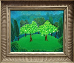 Painting of the two trees from the Garden of Eden called Taste of Eternity.