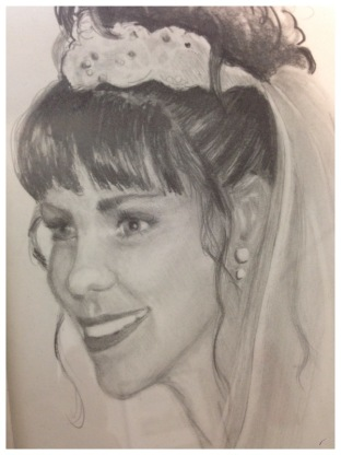 Original drawing of Angel Ambrose as a bride.