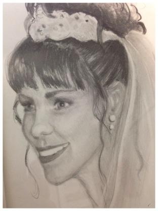 Original drawing of Angel Ambrose as a bride.